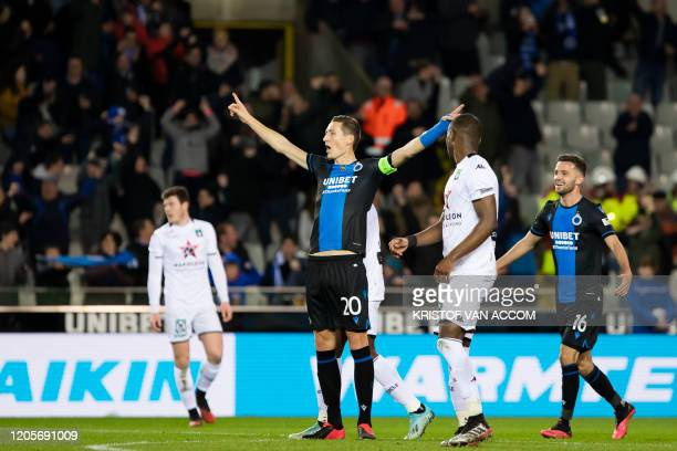 Club's Hans Vanaken celebrates after scoring during a soccer match between Club Brugge KV and Cercle Brugge KSV, Saturday 07 March 2020 in Brugge, on...