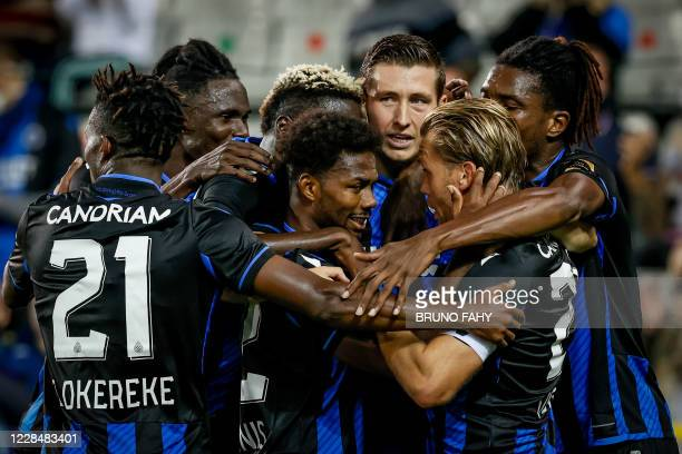 Club's Hans Vanaken celebrates with his teammates after scoring during a soccer match between Club Brugge KV and Waasland-Beveren, Saturday 12...