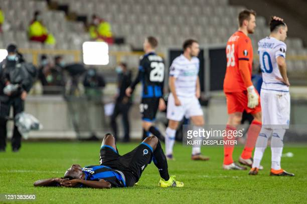 Club's Odilon Kossounou looks dejected after losing a game between Belgian soccer team Club Brugge KV and Ukrainian FC Dynamo Kyiv, Thursday 25...