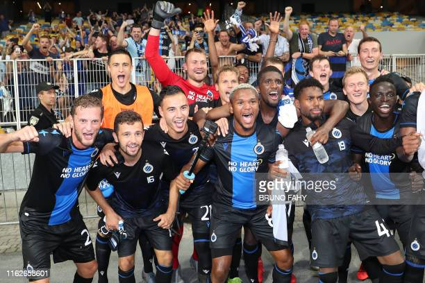 Club's players celebrate after winning a soccer game between Ukrainian club Dynamo Kyiv and Belgian team Club Brugge KV, Tuesday 13 August 2019 in...