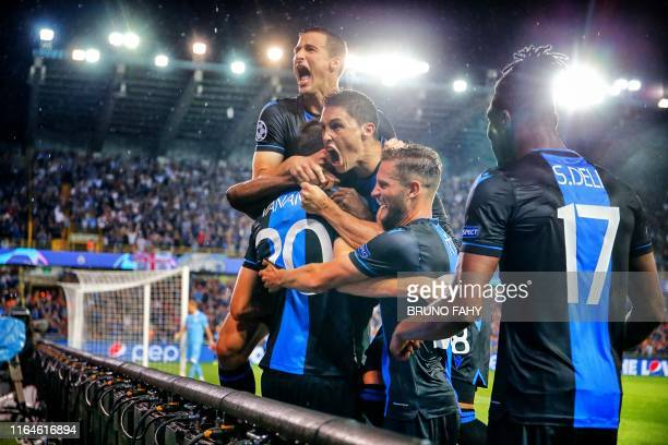 Club's players celebrate during a game between Belgian soccer team Club Brugge and Austrian club LASK Linz Wednesday 28 August 2019 in Brugge the...
