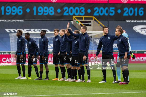 Club's players pictured at the start of a soccer match between Club Brugge KV and KRC Genk, Sunday 23 May 2021 in Brugge, on the sixth and last day...