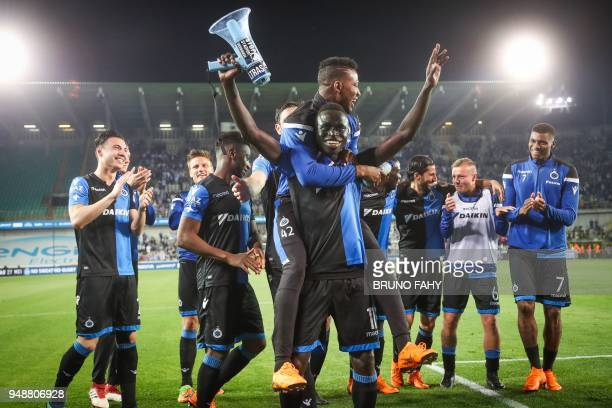 Club's Senegalese forward Krepin Diatta Club's Nigerian forward Emmanuel Dennis Brazilian forward Wesley Dutch midfielder Jordy Clasie and teammates...