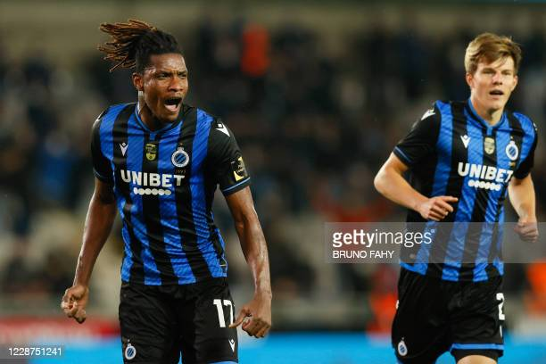 Club's Simon Deli celebrates after scoring during the Jupiler Pro League match between Club Brugge KV and Cercle Brugge, Sunday 27 September 2020 in...