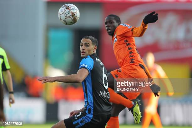 Club's Sofyan Amrabat and Charleroi's Cristophe Diandy fight for the ball during a soccer match between Club Brugge and Charleroi Sunday 20 January...