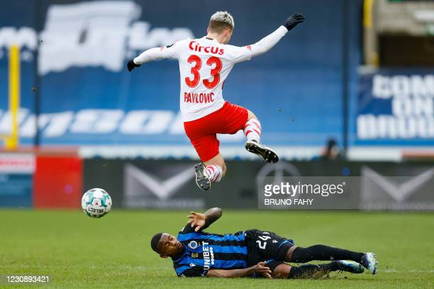 Club's Stefano Denswil and Standard's Demjan Pavlovic fight for the ball during a soccer match between Club Brugge and Standard de Liege, Sunday 31...