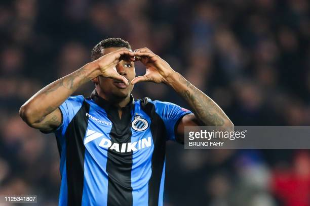 Club's Wesley Moraes forms a heart with his hands as he celebrates after scoring during a soccer game between Belgian team Club Brugge KV and...