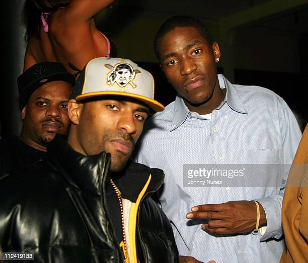 DJ Clue and Jamal Crawford of The New York Knicks during Pharrell Williams Hosts Store Opening of Nigo's A Bathing Ape After Party Inside at Canal...