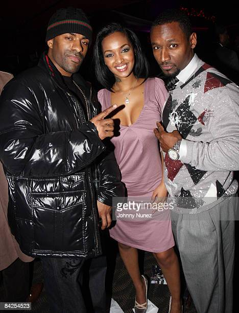 DJ Clue Angel Lola Luv and Usman Sharif attend the after party for the premiere of 'Notorious' at the Roseland Ballroom on January 7 2009 in New York...