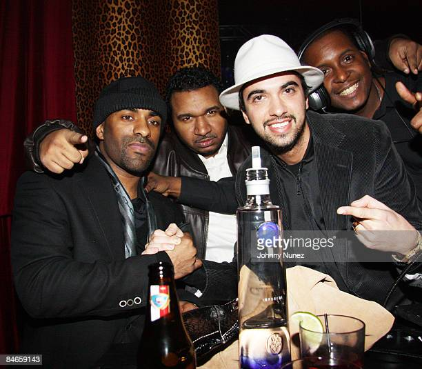 Clue DJ SussOne and DJ Cassidy attend DJ Clue's and Valeesha Butterfield's birthday party at M2 Ultra Lounge on February 2 2009 in New York City