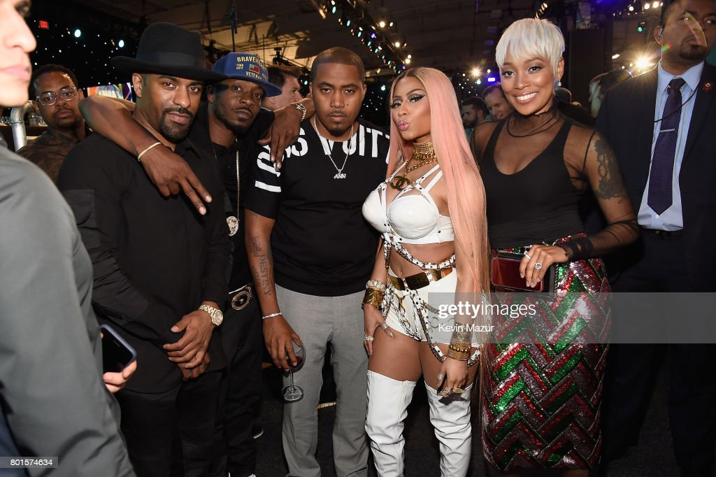 DJ Clue, Nas, Nicki Minaj, and Monica attend the 2017 NBA Awards Live on TNT on June 26, 2017 in New York, New York. 27111_002