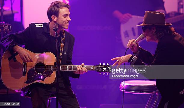 Clueso and Udo Lindenberg perform during 1Live Krone at the Jahrhunderthalle on December 8 2011 in Bochum Germany