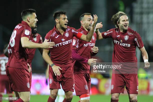 Clujs celebrating the goal during the Liga I match between CFR Cluj and FCSB at DrConstantinRadulescuStadium on February 2 2020 in ClujNapoca Romania