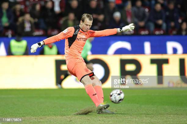 Cluj's Giedrius Arlauskis during the Liga I match between CFR Cluj and FCSB at DrConstantinRadulescuStadium on February 2 2020 in ClujNapoca Romania