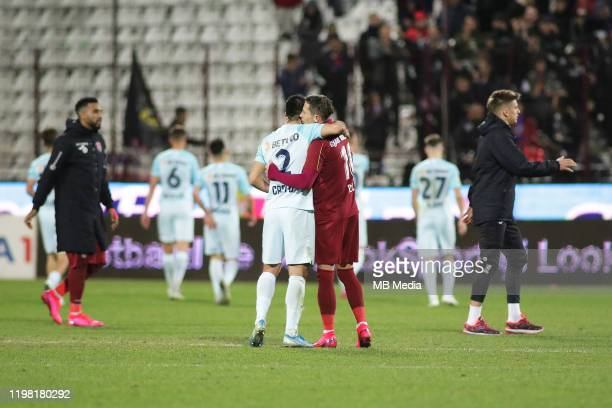 Clujs players celebrating victory ath the end of Liga I match between CFR Cluj and FCSB at DrConstantinRadulescuStadium on February 2 2020 in...
