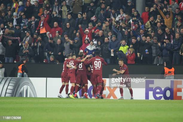 Cluj's players goal celebration during the UEFA Europa League group E match between CFR Cluj and Celtic FC at Dr.-Constantin-Radulescu-Stadium on...