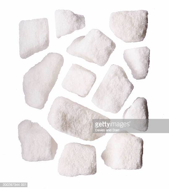 Clumps of white sugar