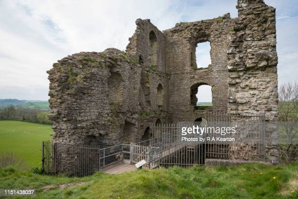 clun castle, shropshire, england, uk - old ruin stock photos and pictures