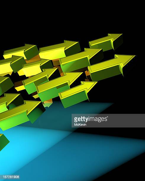 cluster of rising golden green arrows - curved arrows stock photos and pictures