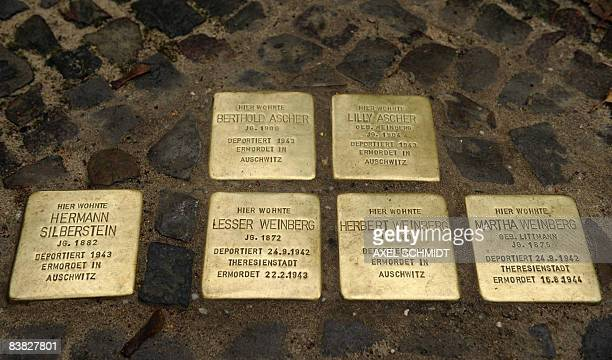 """Cluster of six """"Stolpersteine"""" or stumbling stones can be seen in Berlin's Kreuzberg district, where the capital's 2000th stumbling stone by artist..."""