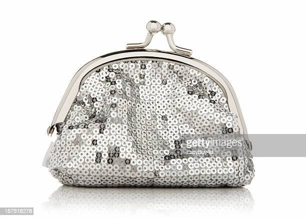clutch purse with silver sequins and a metal opening hatch - gray purse stock pictures, royalty-free photos & images