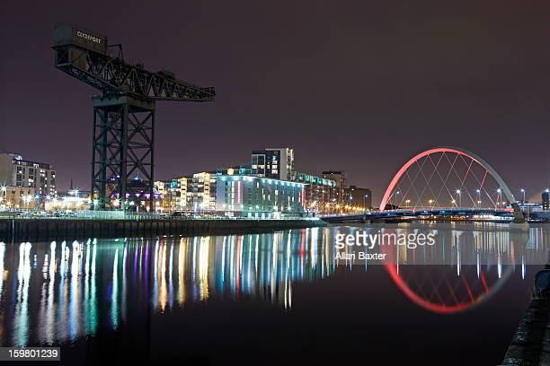 Clyde Arc and Finnieston Crane at night