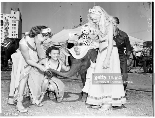 Clyde Beatty Circus, 4 April 1952. 'Little Bit' -- 18 months old elephant;Dolly Green;Bernadette Simon;Coleen Alpaugh;Bob Smith ;Eloise...