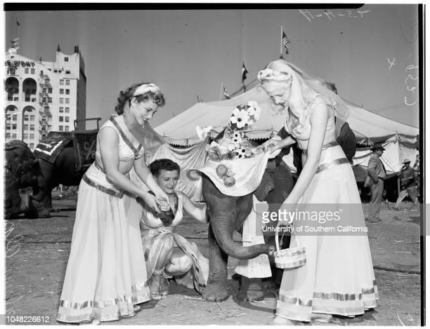Clyde Beatty Circus 4 April 1952 'Little Bit' 18 months old elephantDolly GreenBernadette SimonColeen AlpaughBob Smith Eloise MartinCaption slip...