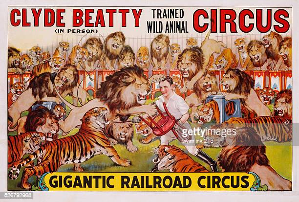 Clyde Beatty Trained Wild Animal Circus Poster