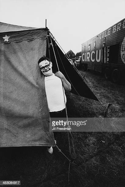 'Clyde BeattyCole Bros Circus' clown Billy McCabe rests in his tent between shows USA 1971
