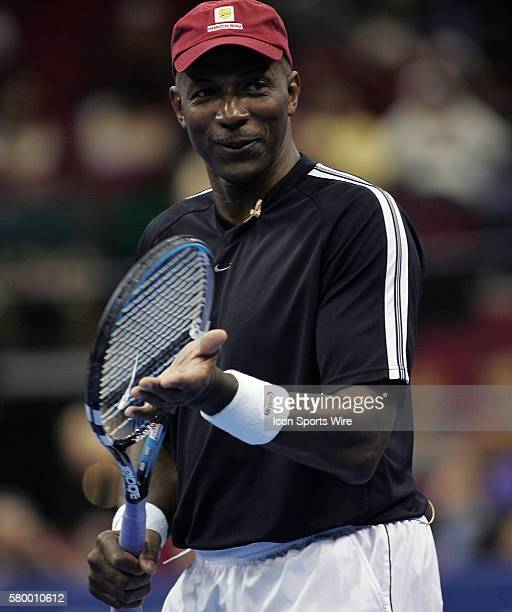 Clyde Drexler during the Serving for Tsunami Relief tennis match at Toyota Center in Houston Texas Tennis Champion's Jim Courier John McEnroe Chris...