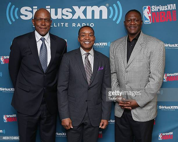 Clyde Drexler, Isiah Thomas, and Dominique Wilkins visit the SiriusXM Studios on February 13, 2015 in New York City.