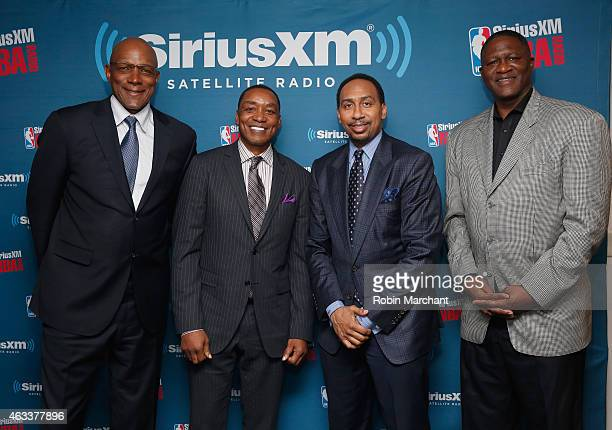 "Clyde Drexler, Isiah Thomas, Stephen A. Smith and Dominique Wilkins attend SiriusXM's ""Town Hall"" With Clyde Drexler, Isiah Thomas, Dominique Wilkins..."