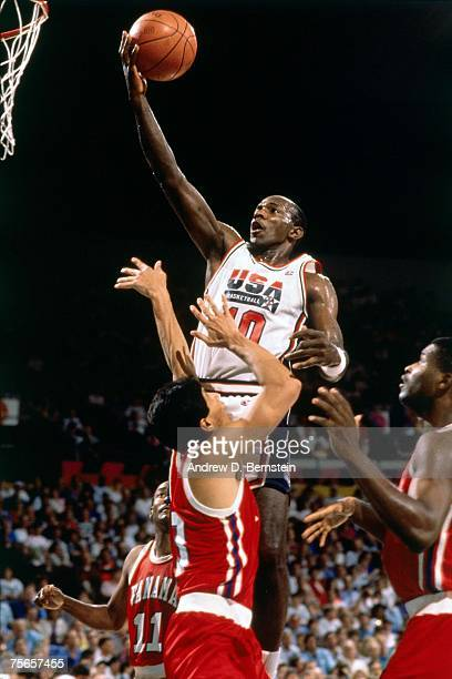 Clyde Drexler of the United States National Team attempts a layup during the 1992 Olympic Games in Barcelona Spain NOTE TO USER User expressly...