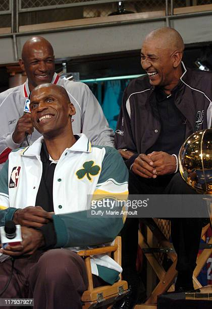Clyde Drexler Robert Parish and George Gervin with the 2005 Larry O'Brien NBA Championship Trophy