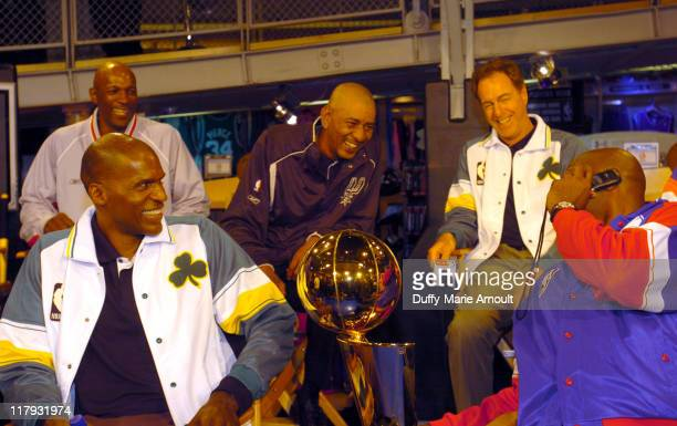 Clyde Drexler Robert Parish George Gervin David Cowens and Moses Malone with the 2005 Larry O'Brien NBA