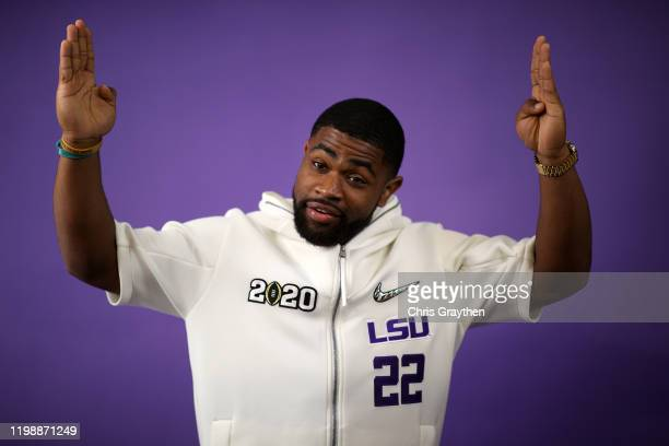 Clyde EdwardsHelaire of the LSU Tigers attends media day for the College Football Playoff National Championship on January 11 2020 in New Orleans...