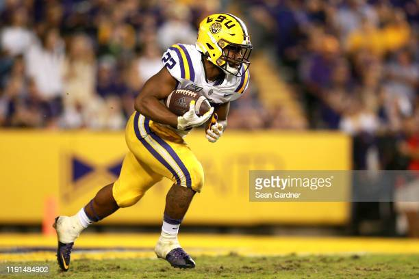 Clyde Edwards-Helaire of the LSU Tigers in action during a game at Tiger Stadium against the Texas A&M Aggies on November 30, 2019 in Baton Rouge,...