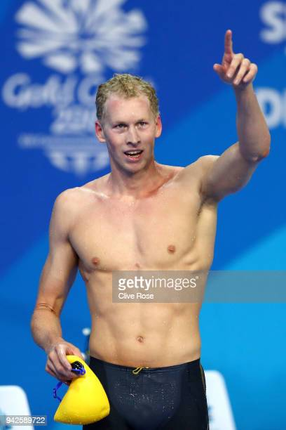 Clyde Lewis of Australia celebrates victory in the Men's 400m Individual Medley Final on day two of the Gold Coast 2018 Commonwealth Games at Optus...