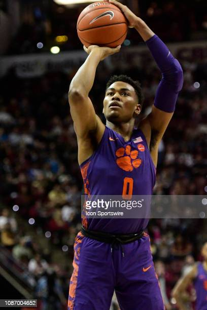 Clyde Trapp guard Clemson University Tigers attempts a free throw against the Florida State University Seminoles during an Atlantic Coast Conference...