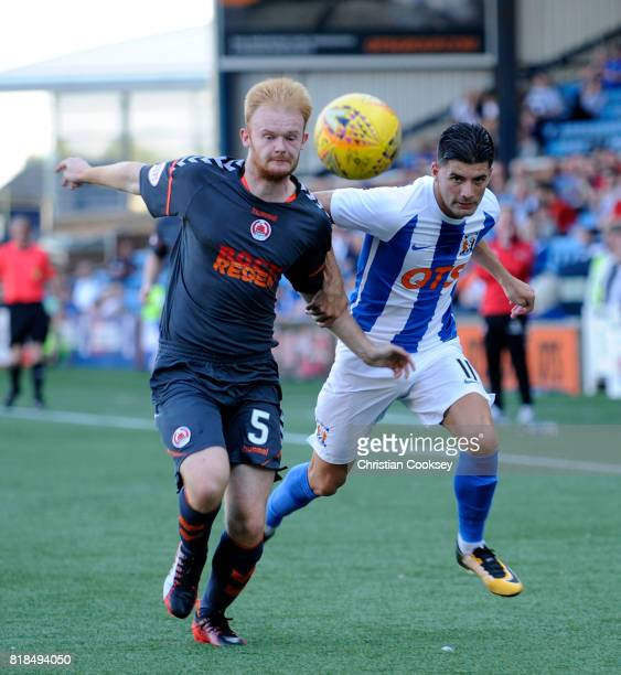 Clyde's Jack Breslin battles with Kilmarnock's Jordan Jones during the Betfred League Cup game on July 18, 2017 in Kilmarnock, Scotland.