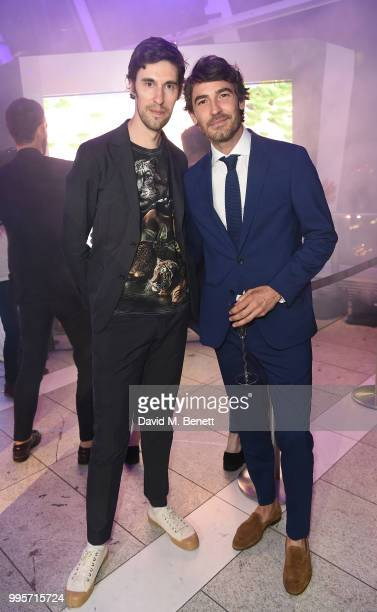 Clym Evernden and Robert Konjic attend the BVLGARI MAN WOOD ESSENCE event at Sky Garden on July 10 2018 in London England