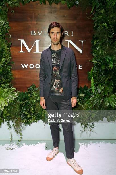 Clym Evernden attends the BVLGARI MAN WOOD ESSENCE event at Sky Garden on July 10 2018 in London England