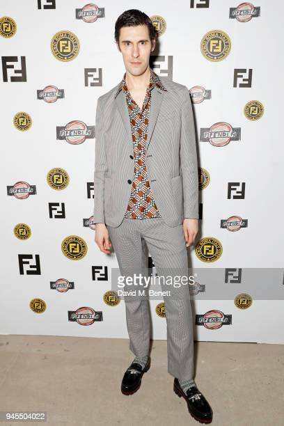 Clym Evernden attends the FENDI FF Reloaded Experience on April 12 2018 in London England