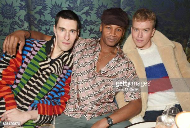 Clym Evernden Eric Underwood and Fletcher Cowan attend an after party celebrating the FENDI Sloane Street Boutique opening at Isabel on December 14...