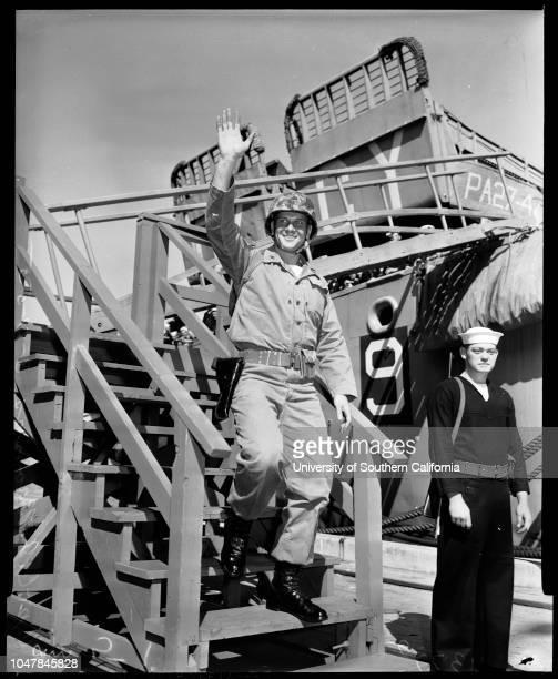 Clymer' Marines return, 17 March 1955. Lieutenant Governor Harold Powers;Lieutenant Paul Kennedy ;Colonel R.L Murray;Colonel Robert Ruud;Captain E.J...