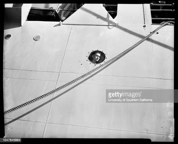 USS 'Clymer' Marines return 17 March 1955 Lieutenant Governor Harold PowersLieutenant Paul Kennedy Colonel RL MurrayColonel Robert RuudCaptain EJ...