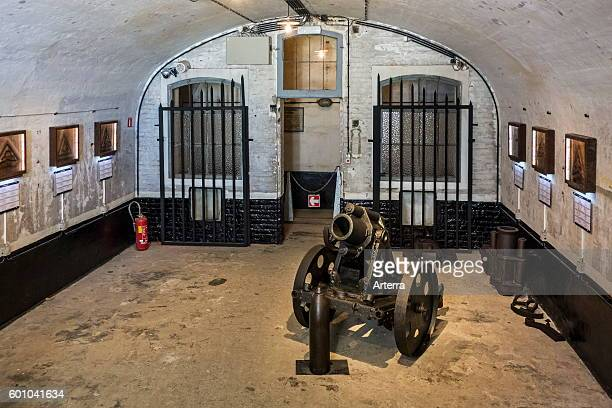 17 cm mittlerer Minenwerfer German mortar in casemate of the Fort de Loncin one of twelve forts built as part of the Fortifications of Liege...