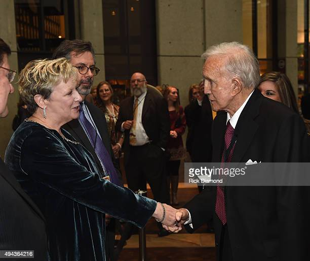 CMHoFM's Carolyn Tate and Pete Finney greet Jan Ralph Emery at The Country Music Hall of Fame 2015 Medallion Ceremony at the Country Music Hall of...