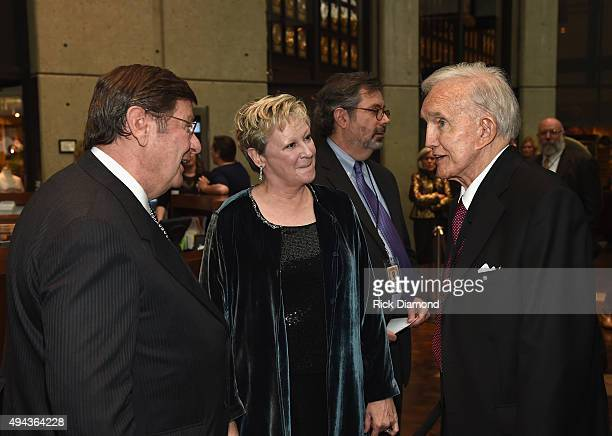 CMHoFM's Steve Turner and Carolyn Tate greet Jan Ralph Emery at The Country Music Hall of Fame 2015 Medallion Ceremony at the Country Music Hall of...